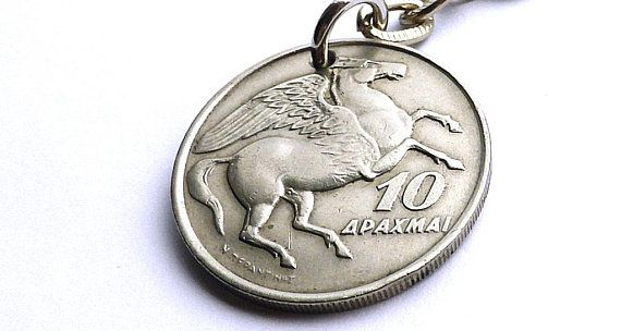 Greek, Keychain, Horse keychain, Pegasus, Phoenix, Mythology, Horses, Birds, Coin keychain, Gifts under 20, Gift for him, Coins, Charm, 1973
