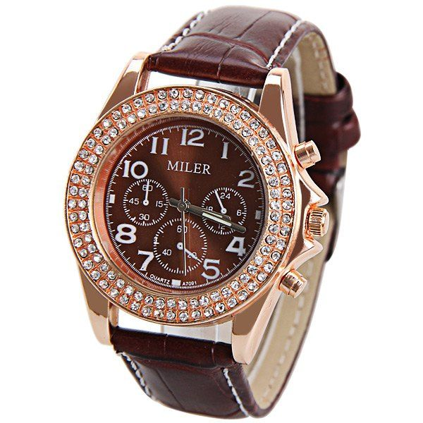 Quartz Watch with Diamonds 12 Arabic Numbers Indicate Leather Watchband for Women, BROWN in Women's Watches | DressLily.com
