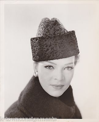 LILLY DACHE FASHION MODEL NANCY WESTBROOK VINTAGE FUR HAT EYE GAZE PROMO PHOTO