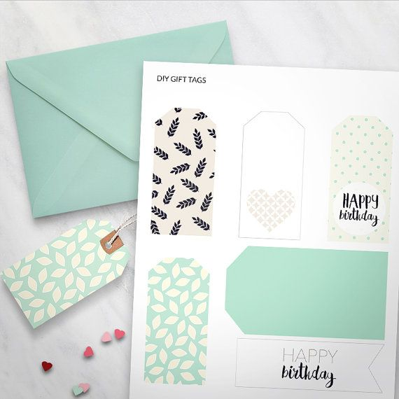 Printable Gift Tags set of 6  Happy Birthday tags Mint Dots