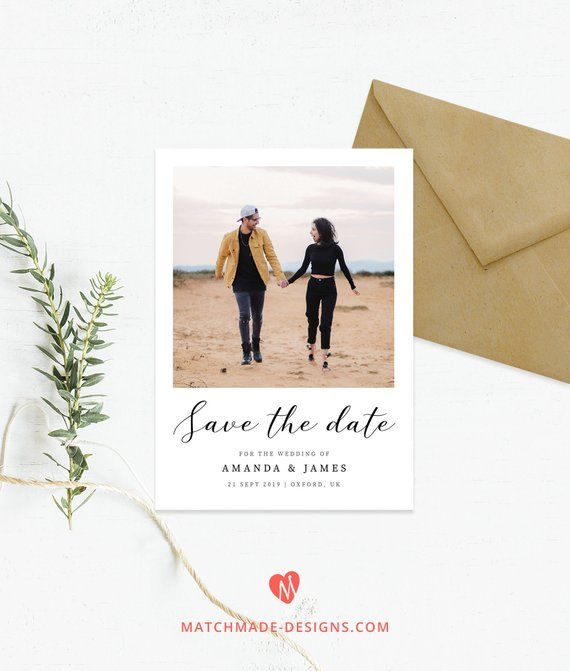 Photo Save the Date Template Polaroid Save Our Date Printable