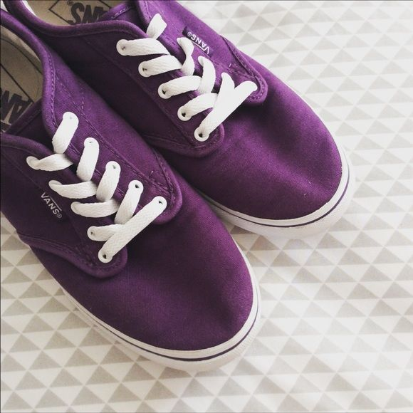Purple Vans Aren't these the cutest vans ever?! They have an eye catching dark purple color to them to give you that edgy/girly look.  Size 6.5 WOMENS. Worn a few times. No flaws, just a little dirt on the bottoms. EUC. Vans Shoes Sneakers