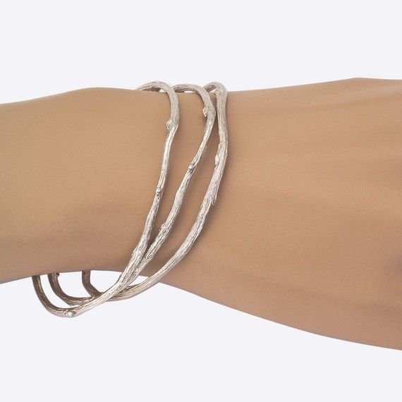Twig Bangle Set  in Sterling Silver   Nature Inspired by bmjnyc, $310.00