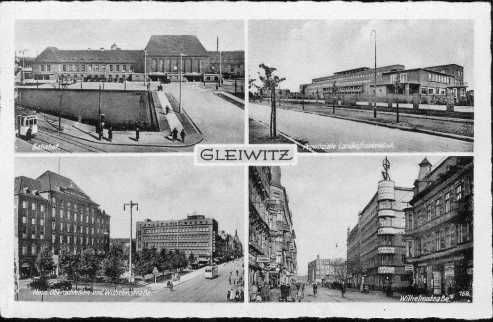 Postkarte von Gleiwitz.