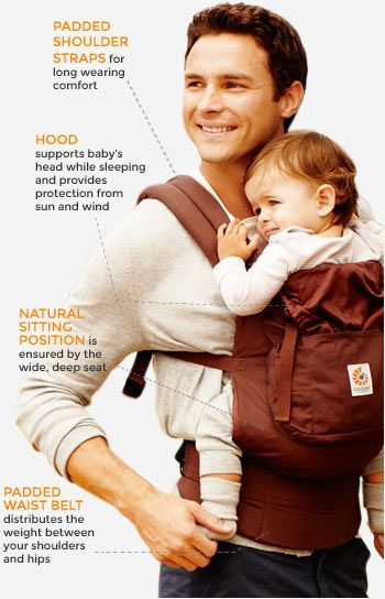 Ergobaby Carriers - Ergo carriers have padded shoulder straps, a hood, feature a natural sitting position for your child, and a padded waist belt. Rent now!