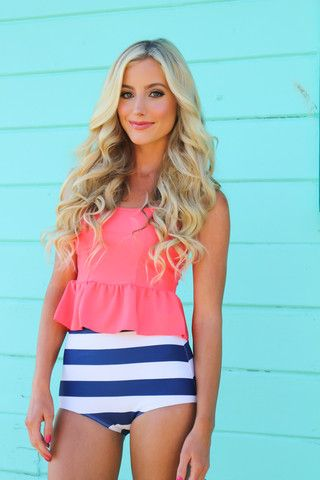 Pink Desert. Kensie Peplum Tankini. The Coral and the Stripes just go so well together!