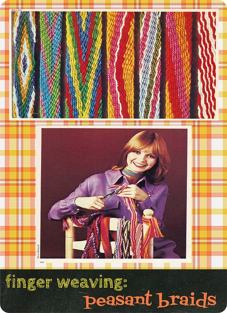My mother had the book this image is from, when I was a kid. Taught myself to make these! I must see if I can still do it...    finger weaving by KnitXcorE, via Flickr