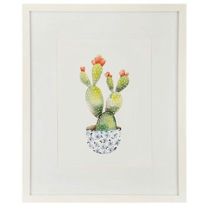 Potted Cactus with Flowers Framed Wall Decor  Hobby lobby