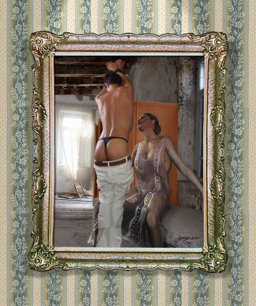 Submissive boy in string panties.