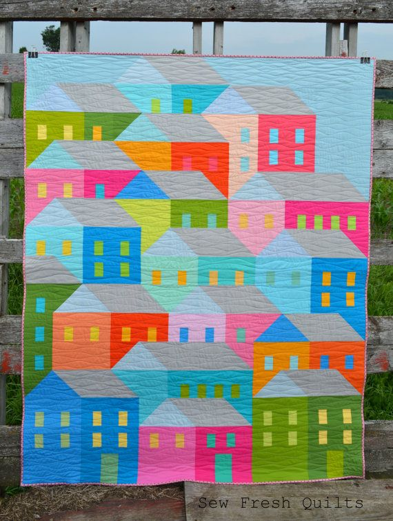Toddler Quilt for Sale, modern patchwork using solids, single or twin bed blanket, houses, colorful, bright, pink