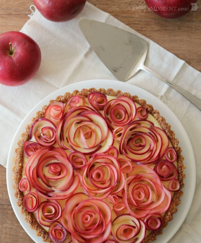 """Apple Walnut Tart with Maple Custard: As pretty as it is delicious! This is a """"wow"""" dessert!"""