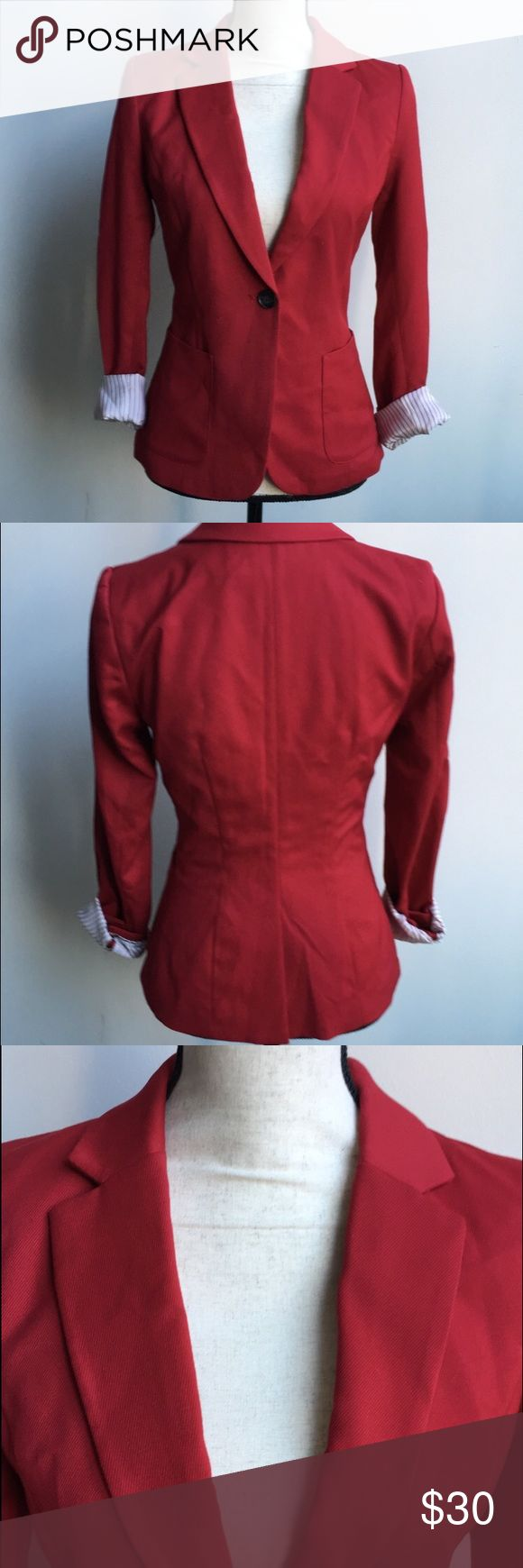 Red Blazer Red Blazer With White & Red Pinstripe Lining. Very Cute For The Holidays! Pair it with slacks for the office or dress up some jeans with this cute Blazer. Only worn once, like new. Sleeves can be rolled up to show cute lining, or rolled down for a more conservative look. Tops
