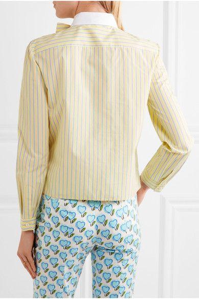 Prada - Bow-embellished Ruffled Striped Cotton Shirt - Pastel yellow - IT42