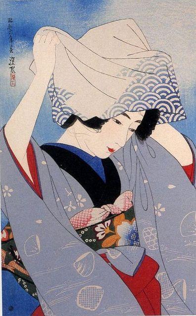 "Digging Seashells From ""The First Series of Modern Beauties"" Gendai bijinshu dai isshu: Shiohigari Artist: Ito Shinsui Published by Watanabe Shozaburo, 1931."