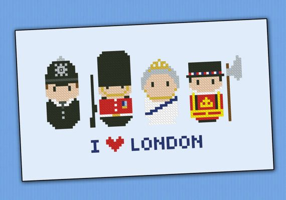 London icons - Mini people around the world - PDF cross stich pattern on Etsy
