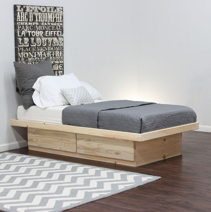 full platform bed pine wood