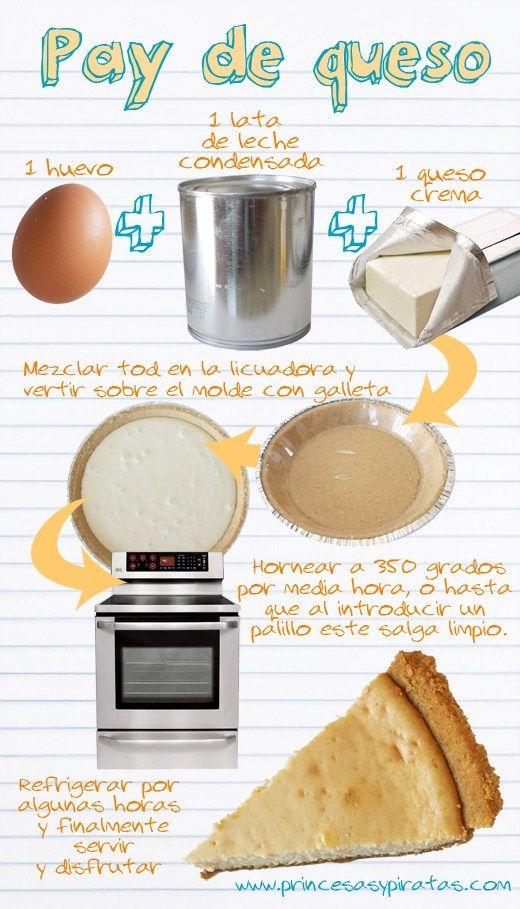 """Creo que ésta es la receta más fácil para hacer pay horneado de queso que he visto, la receta """"oficial"""" de la familia, queda muy rico! Te invito a prepararlo ;)"""