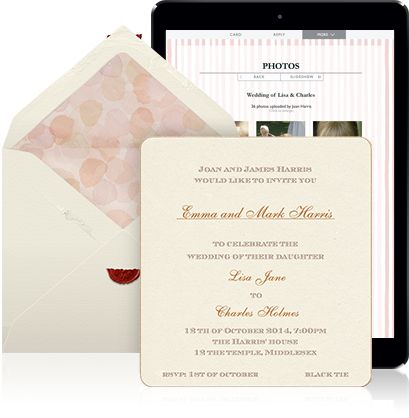 Online Wedding invitation example sending for a sinlge invitation with white envelope, blue and white designer card and personal addressing of recipients