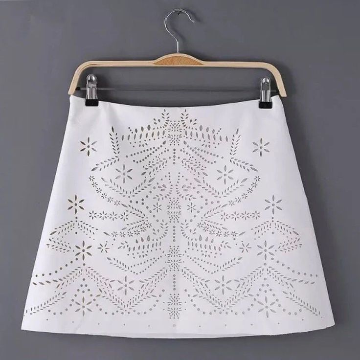 New Fashion Women White PU Mini Skirt Faux Leather Cutout Rock Style White Skirt #Unbranded #ALine