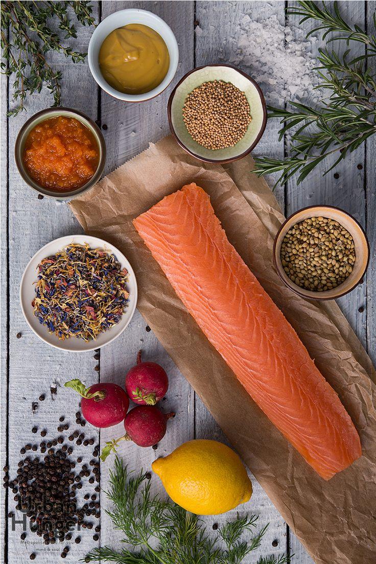 Gebeizter Honigsenf-Lachs Zutaten  / Graved Honey Mustard Salmon ingredients