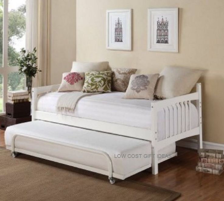 twin daybed with room for trundle white bed and storage dorm living furniture