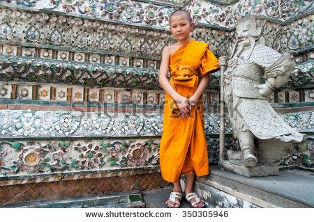Bangkok, Thailand. December 2012. Unidentified boy monk at the Buddhist temple Wat Arun