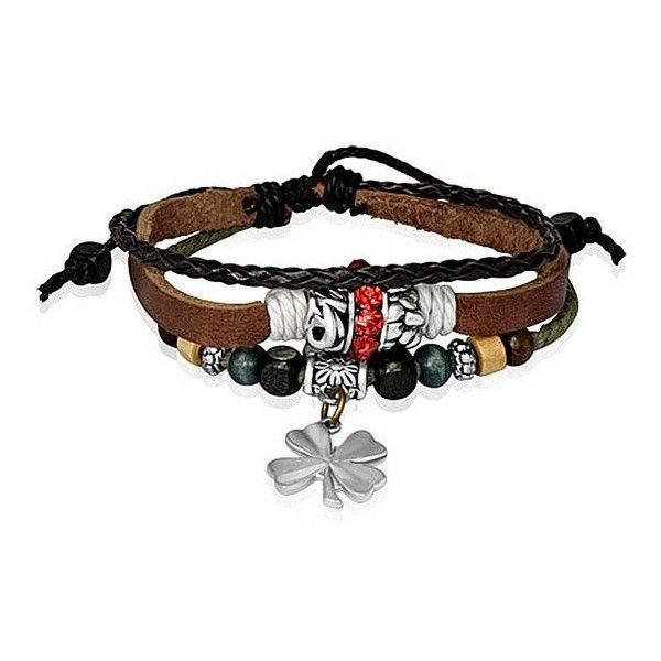 Bling Jewelry Braided Leather Zen Surf Bracelet Shamrock Flower Wood... (£10) ❤ liked on Polyvore featuring jewelry, bracelets, accessories, brown, dangle charms, bead bracelet, flower bracelet, wood bead bracelet and beaded wrap bracelet