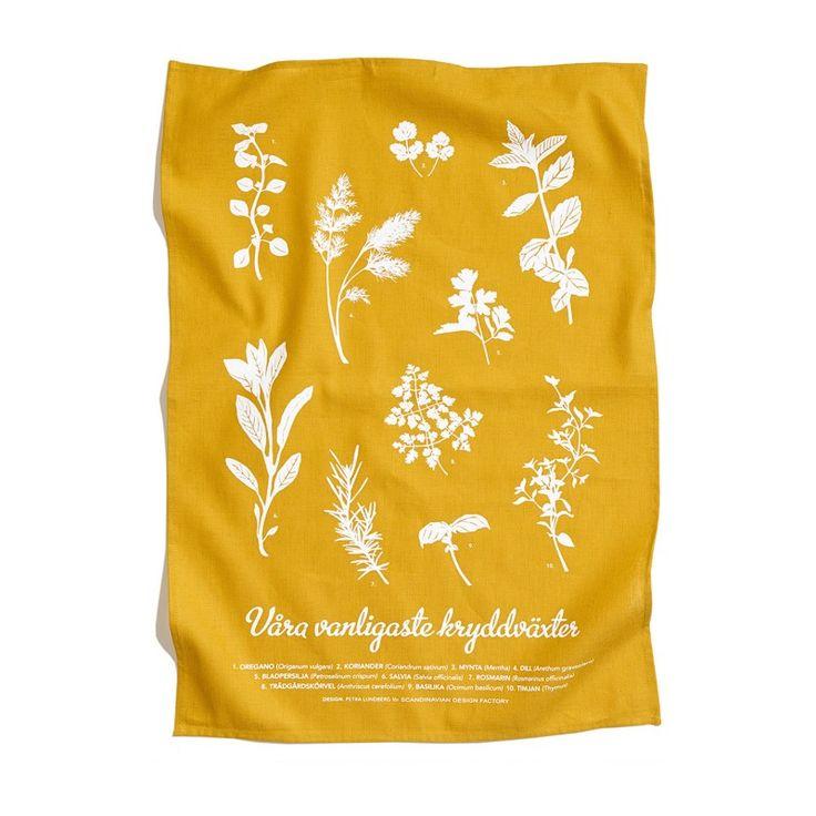 Scandinavian Design Factory  Kökshandduk kryddväxter gul 150 kr från Designtorget