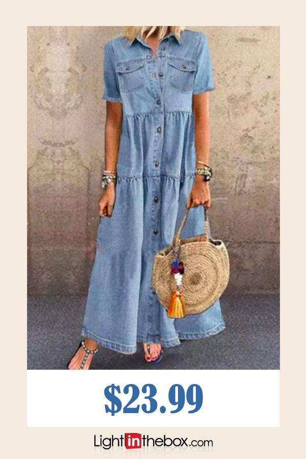 26.44] Women's Denim Shirt Dress Maxi long Dress Dark Blue Light ...