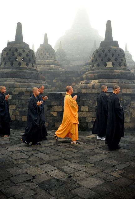 The Orange. Vesak ceremony in the morning - Borobudur, Central Java # Indonesia by Noor Eva