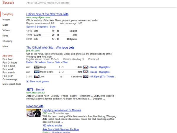 """Blended search results and media types at Google    A query for """"jets"""" on Google, for example, returns sports scores, news items, web pages and more. However, unlike the previous example, these are displayed in an undifferentiated vertical list:"""