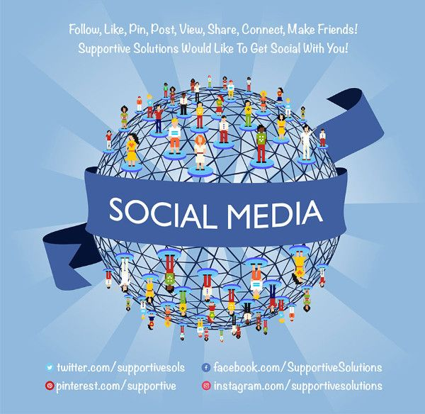 📢 Join Supportive Solutions On #Twitter #Facebook #Pinterest #Instagram & Let's Get Social! #social #socialmedia