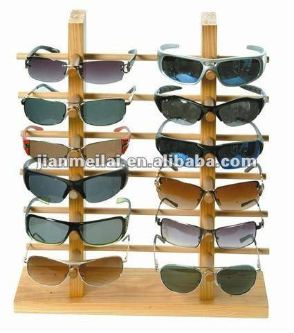 wooden sunglass display stand