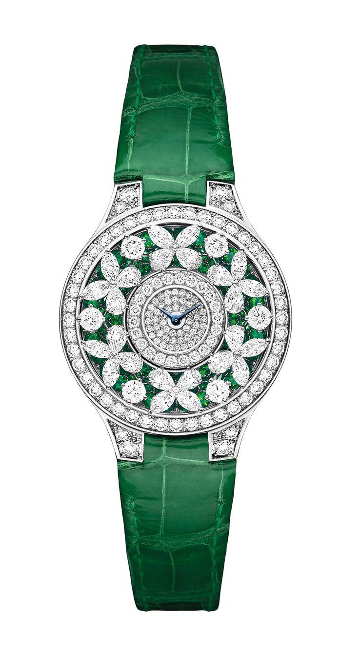 Graff Diamonds Emerald Butterfly Watch in white gold