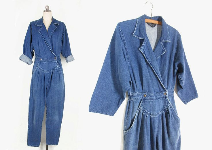 Vintage Denim Jumpsuit, 80s Blue Jean Jumpsuit, Tapered Leg Long Sleeve Jump Suit -- Womens S by ImprovGoods on Etsy