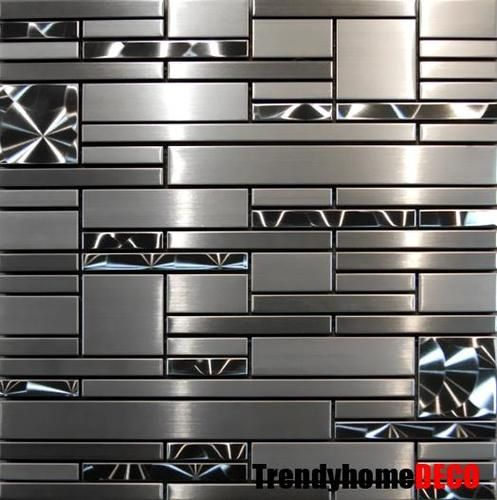 Sample Stainless Steel Metal Pattern Mosaic Tile Kitchen Backsplash Wall Sink