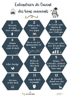 Calendrier de l'avent des bons moments (free printable) - Milk and FabricMilk and Fabric Plus