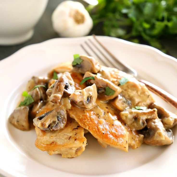 This One Pan Chicken with White Wine Mushroom Sauce is a super delicious restaurant-quality main dish that's so easy to make in only one pan!