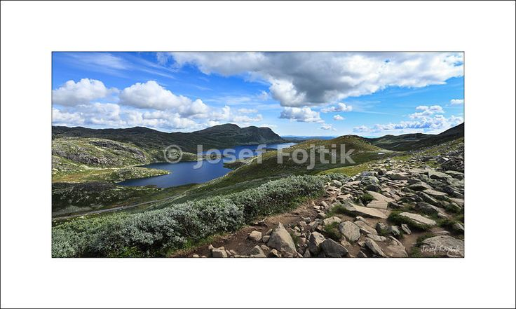 View from the Gaustatoppen Mountain towards the Heddersvatn Lake, Telemark…