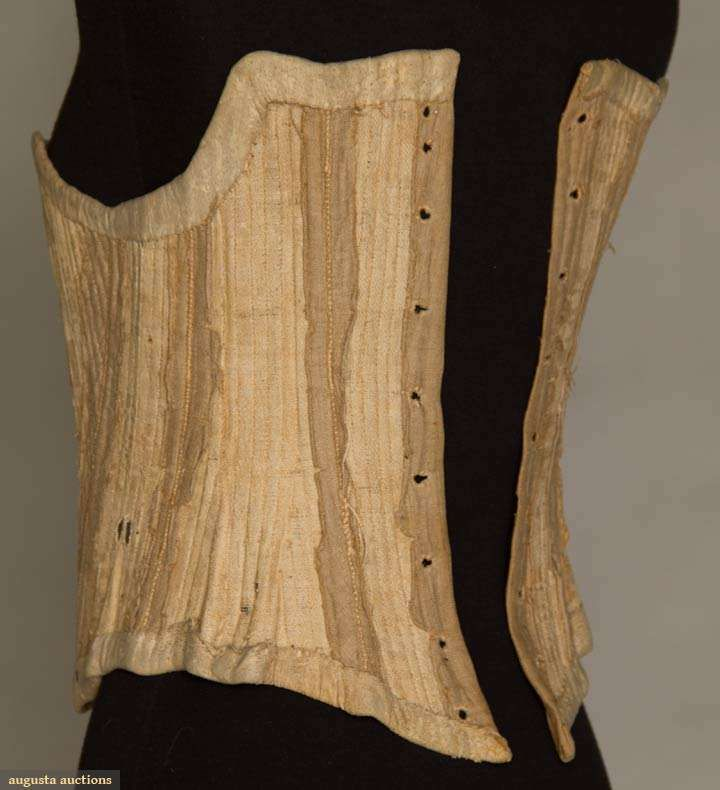 WOMAN'S TAN LINEN STAYS, LATE 18TH C