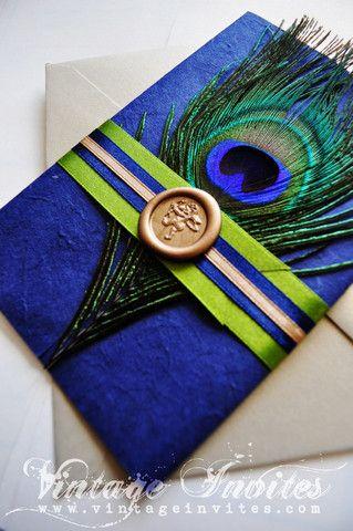 Peacock invitation for wedding