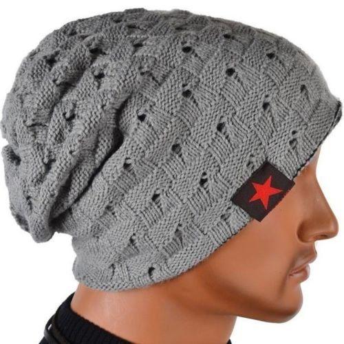 SODIAL (R) hombres tejida de punto de la gorrita reversible holgado tapa del craneo grueso de invierno Gorra X085 – Gris claro