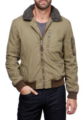 Lucky Brand Men's Bomber Jacket - Dusky Olive - 2Xl