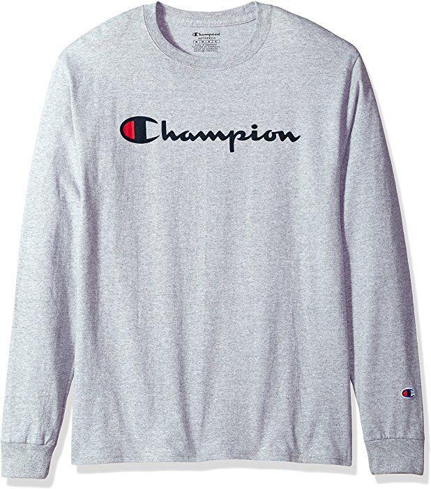 6526c9139ee6e Amazon.com: Champion Men's Classic Jersey Long Sleeve Script T-Shirt ...