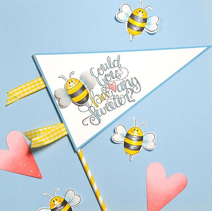 """Can You Be Any Sweeter"" DIY Banner by Debi Adams featuring stamps and dies by Tammy Tutterow for Spellbinders."