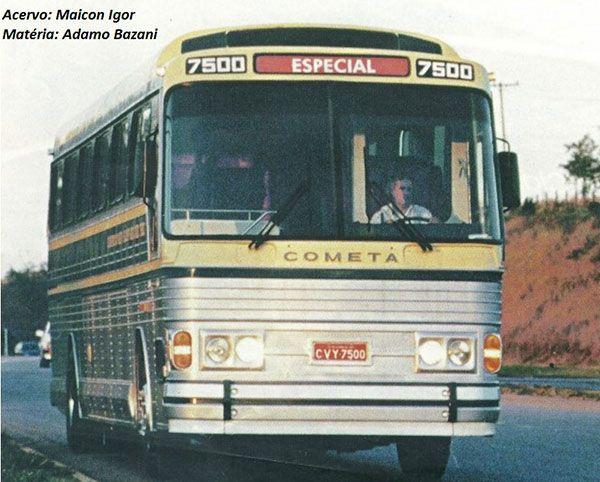 CMA Flecha Azul VIII da Viação Cometa, prefixo 7500, com chassi Scania K124. Foto/Acervo: Maicon Igor.