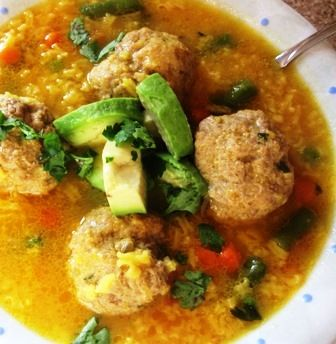 Meatball and Rice Soup (Sopa de Arroz con Albóndigas)-Colombia-I'd reduce the water by a cup, and make the rice separately on the side instead.