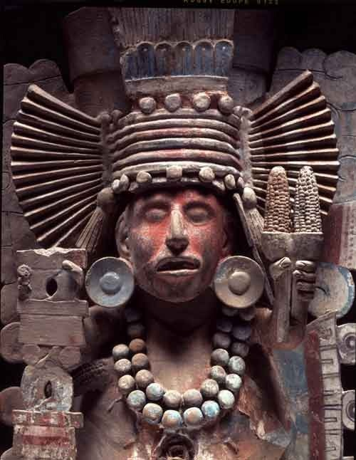 Tlaloc was an important deity in Aztec religion, a god of rain, fertility, and water. He was a beneficent god who gave life and sustenance, but he was also feared for his ability to send hail, thunder and lightning, and for being the lord of the powerful element of water. In Aztec iconography he is normally depicted with goggle eyes and fangs. He was associated with caves, springs and mountains. He is known for having demanded child sacrifices.