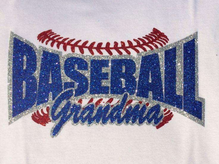 Baseball Grandma, Baseball Support Family Youth Sports, Custom Rhinestone Bling Shirt for Women.