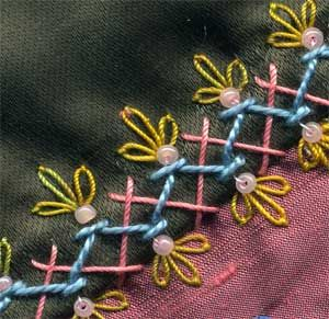 Seam embellishment with beads ✿Teresa Restegui http://www.pinterest.com/teretegui/✿